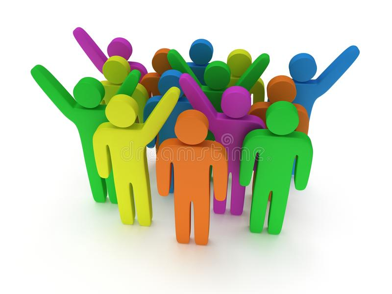 Group of stylized colored people stand on white. 3d render icon. Teamwork, business concept stock illustration