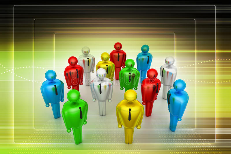 Group of stylized coloured people. In color background stock illustration
