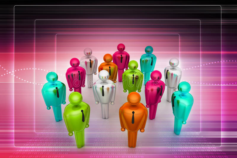 Group of stylized coloured people. In color background vector illustration