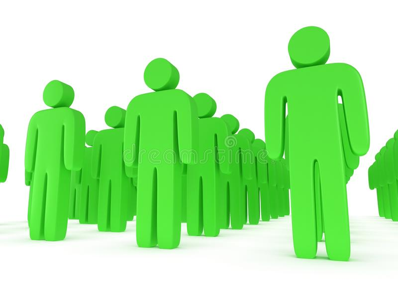 Group of stylized green people stand on white. 3d render icon. Teamwork, business, army concept royalty free illustration