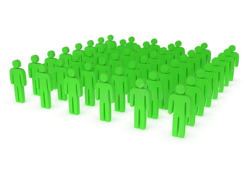 Group of stylized green people stand on white. Isolated 3d render icon. Teamwork, business, army concept royalty free illustration