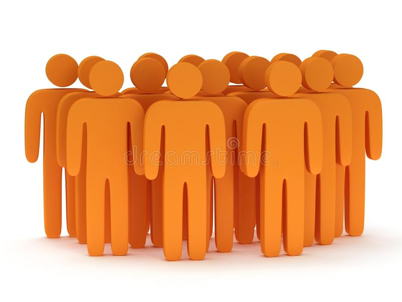 Group of stylized orange people stand on white. Isolated 3d render icon. Teamwork, business, crowd concept vector illustration