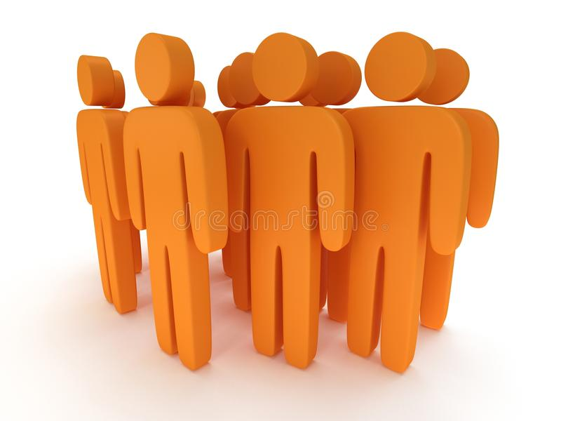 Group of stylized orange people stand on white. Isolated 3d render icon. Teamwork, business, crowd concept stock illustration