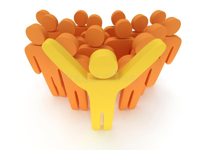 Group of stylized orange people with teamleader. Group of stylized orange people and yellow teamleader with hands up stand on white. 3d render icon. Teamwork stock illustration