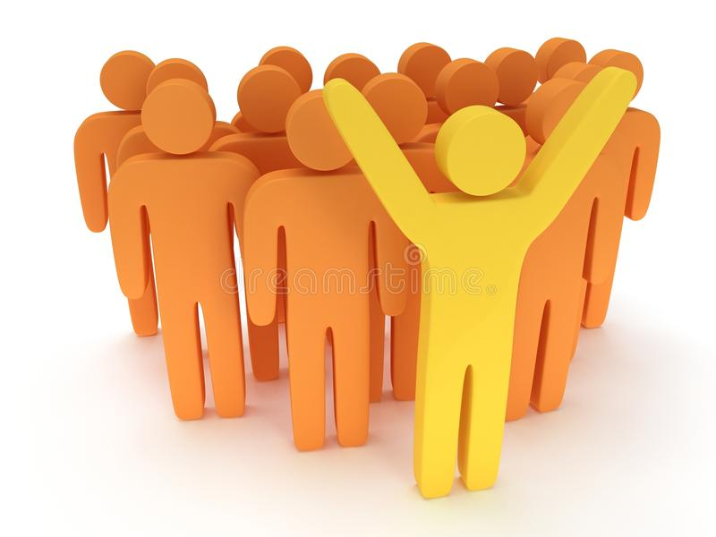 Group of stylized orange people with teamleader. Group of stylized orange people and yellow teamleader with hands up stand on white. Isolated 3d render icon stock illustration