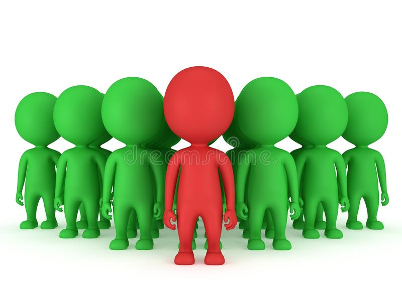 Group of stylized people stand on white. Group of stylized green people with red teamleader stand on white in arrow form. 3d render icon royalty free illustration
