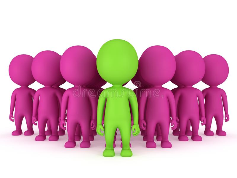 Group of stylized people stand on white. Group of stylized pink people with green teamleader stand on white in arrow form. 3d render icon. Teamwork, business stock illustration