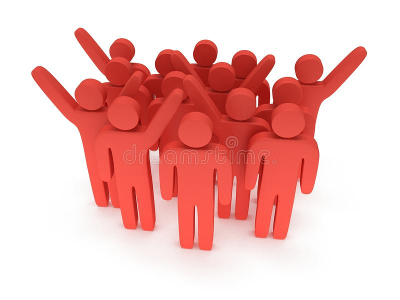 Group of stylized red people stand on white. 3d render icon. Teamwork, business, crowd concept vector illustration