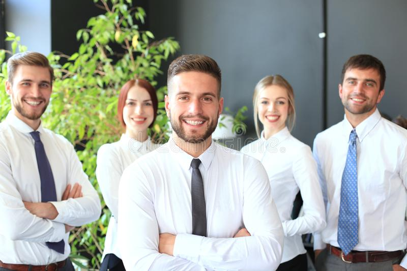 Group of successful business people on the background of the office royalty free stock images