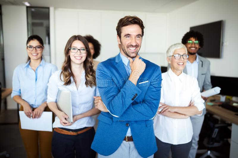 Group of successful business people in office royalty free stock images
