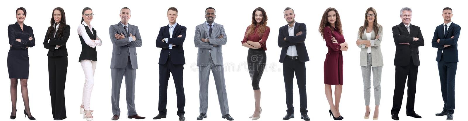 Group of successful business people isolated on white. Background stock photography