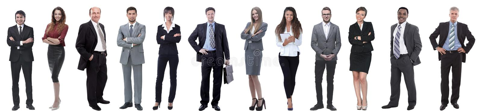 Group of successful business people isolated on white royalty free stock images