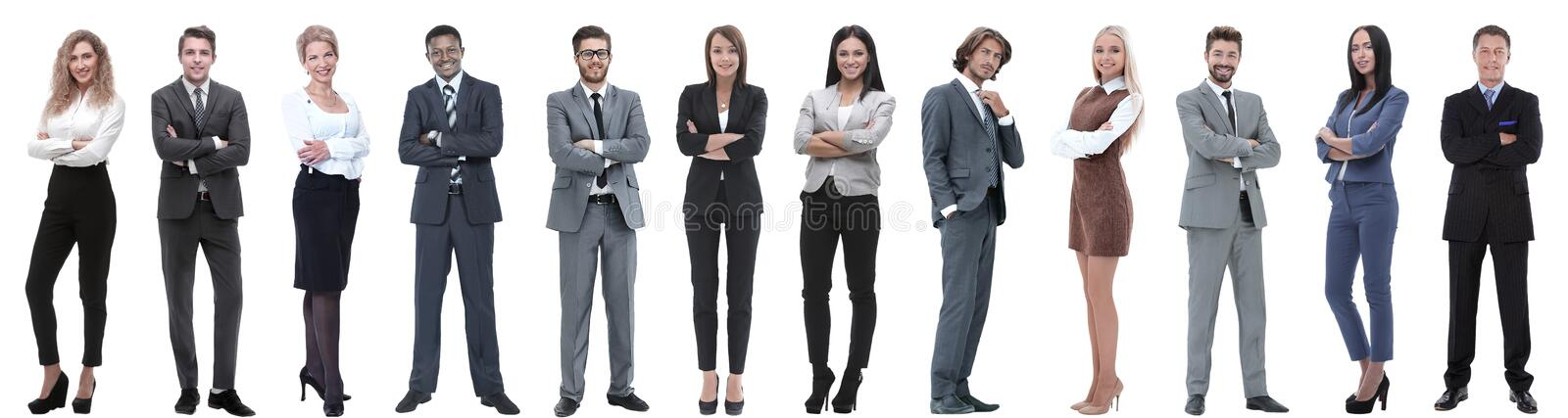 Group of successful business people isolated on white royalty free stock photos