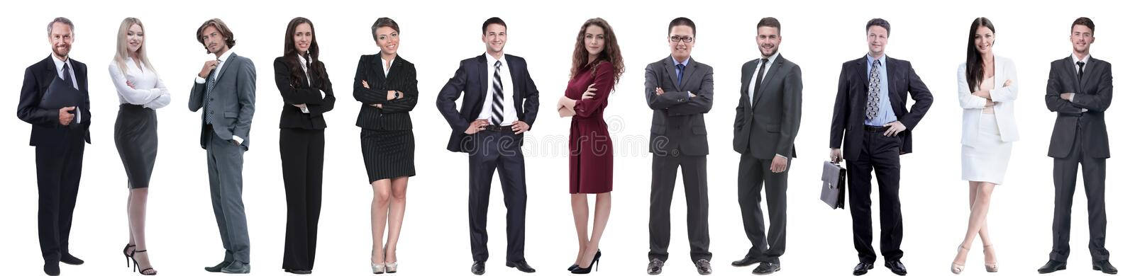 Group of successful business people isolated on white. Background royalty free stock images