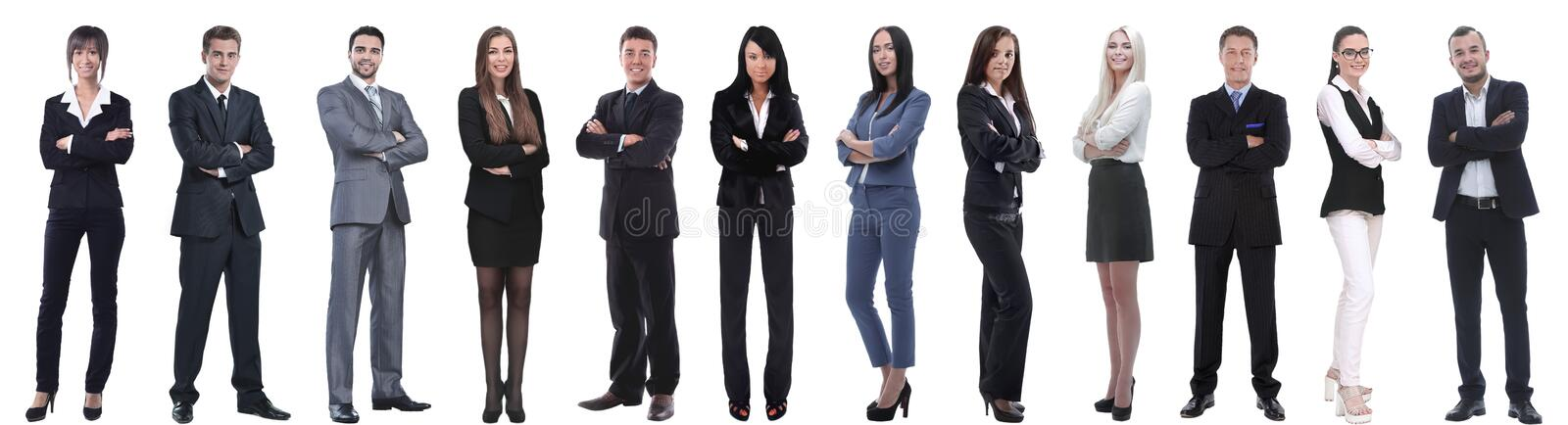 Group of successful business people isolated on white stock images