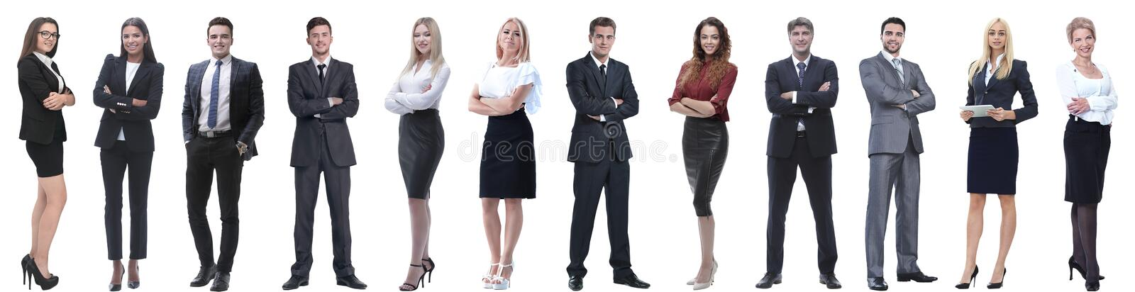 Group of successful business people isolated on white stock photo