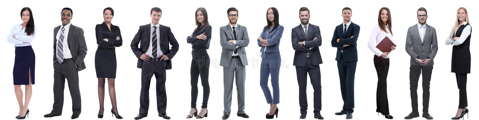 Group of successful business people isolated on white royalty free stock photo