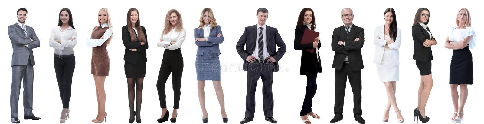 Group of successful business people isolated on white royalty free stock photography