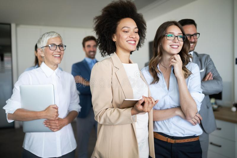Group of successful business people in office royalty free stock image