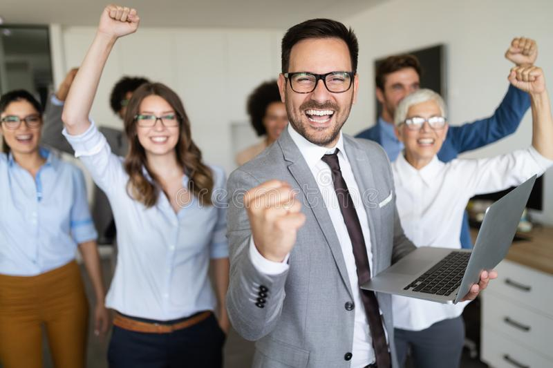 Group of successful business people in office stock photography