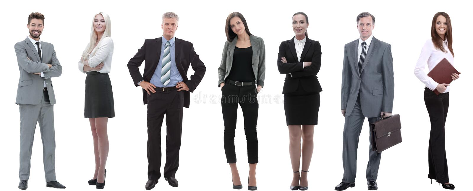 Group of successful business people standing in a row. royalty free stock image