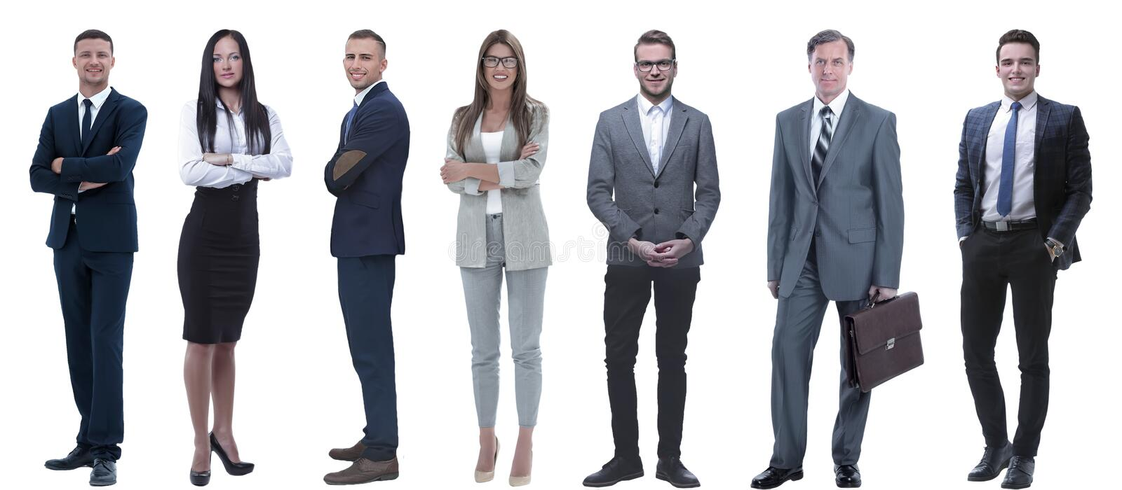 Group of successful business people standing in a row. Isolated on white stock image
