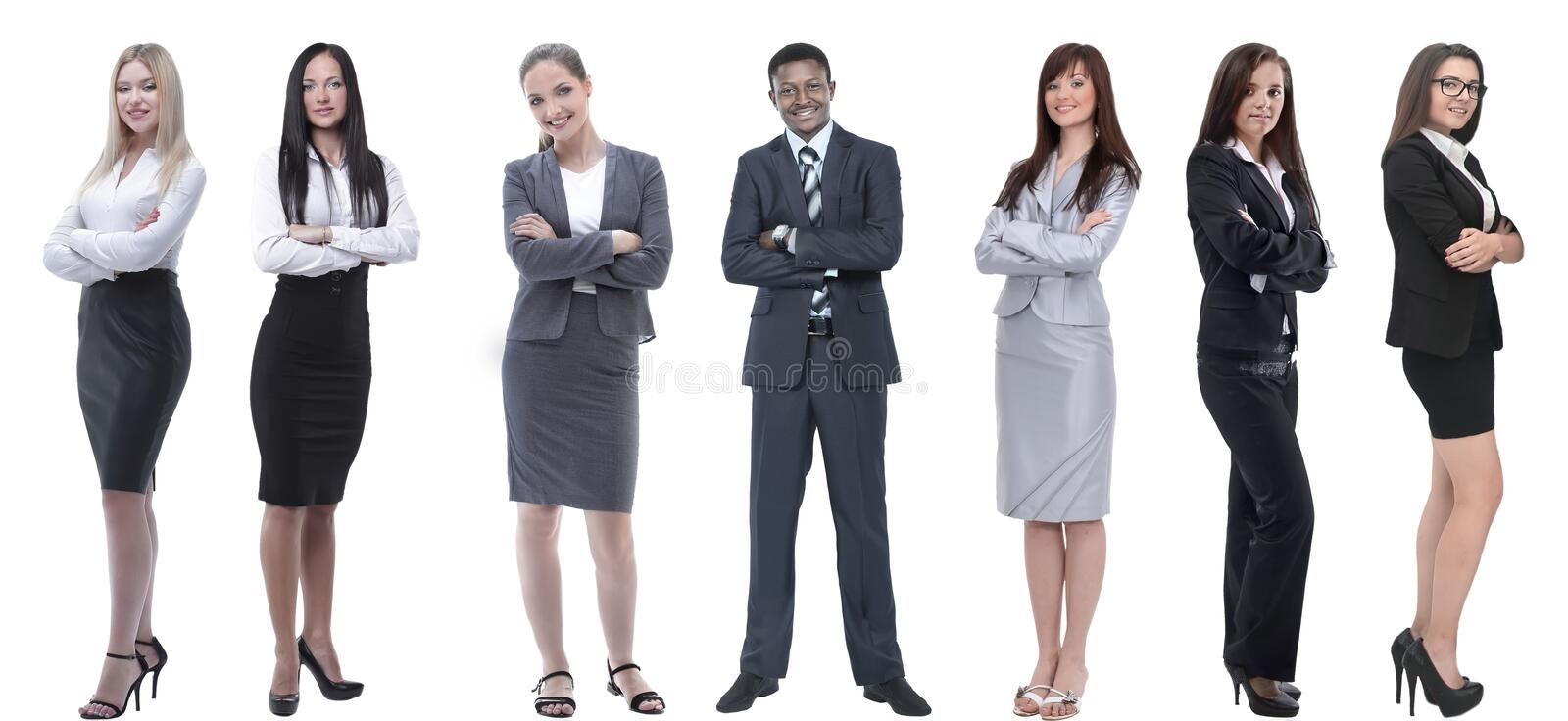 Group of successful business people standing in a row. stock photo