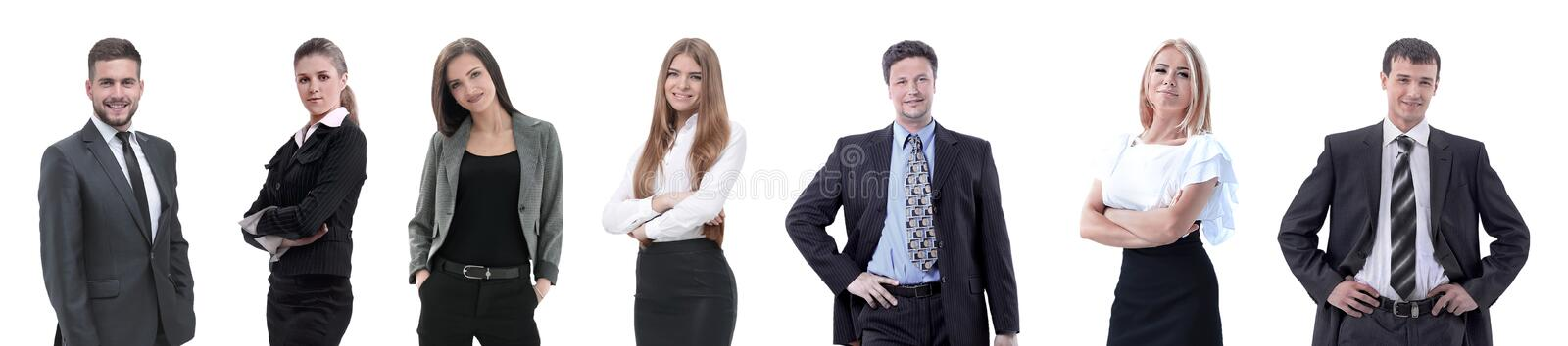 Group of successful business people standing in a row. royalty free stock photo