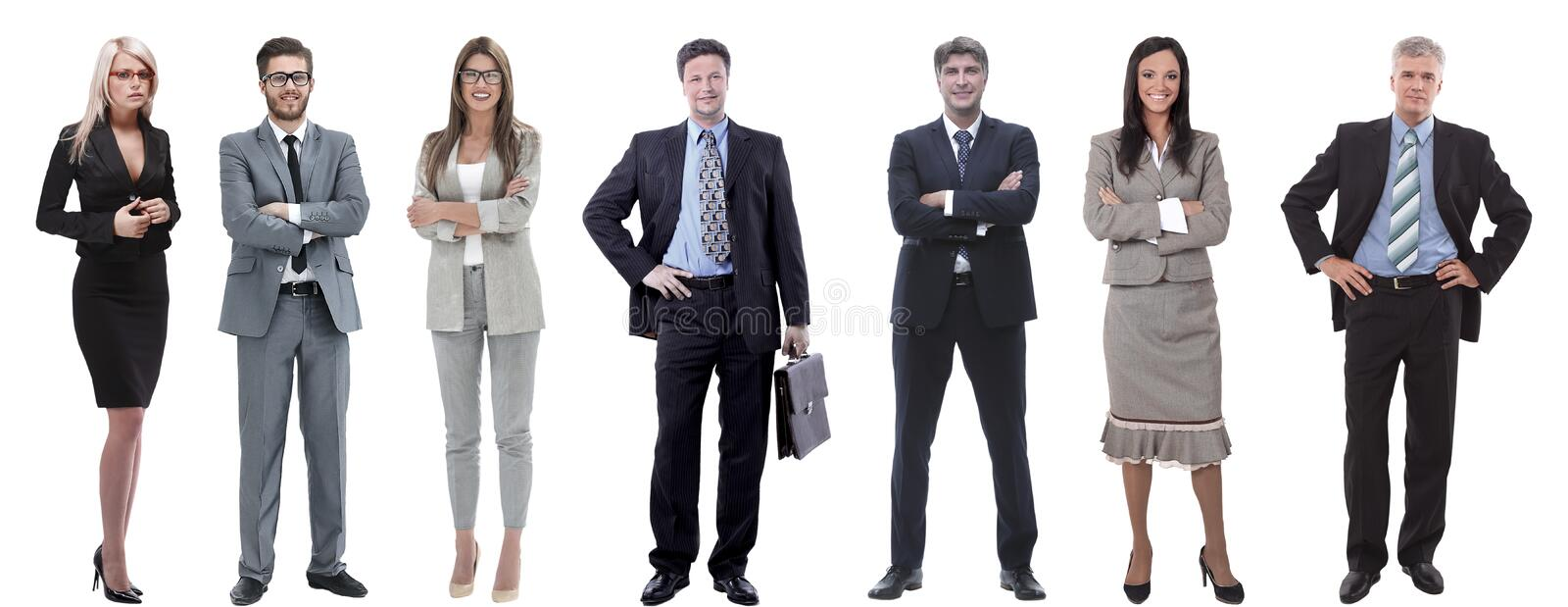 Group of successful business people standing in a row. stock image