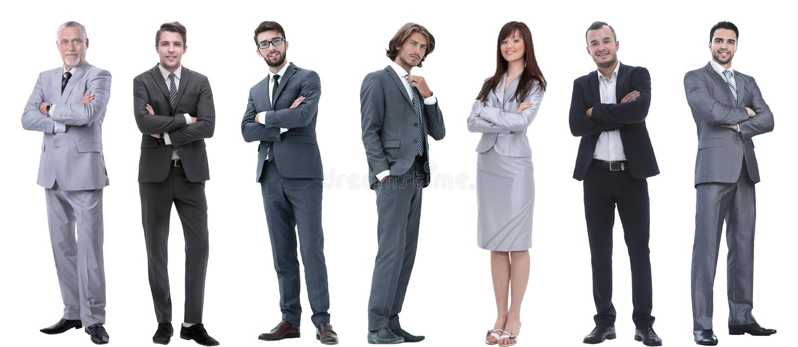 Group of successful business people standing in a row. stock photos
