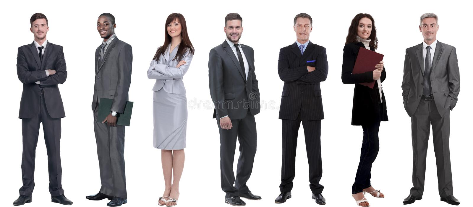 Group of successful business people standing in a row. stock images