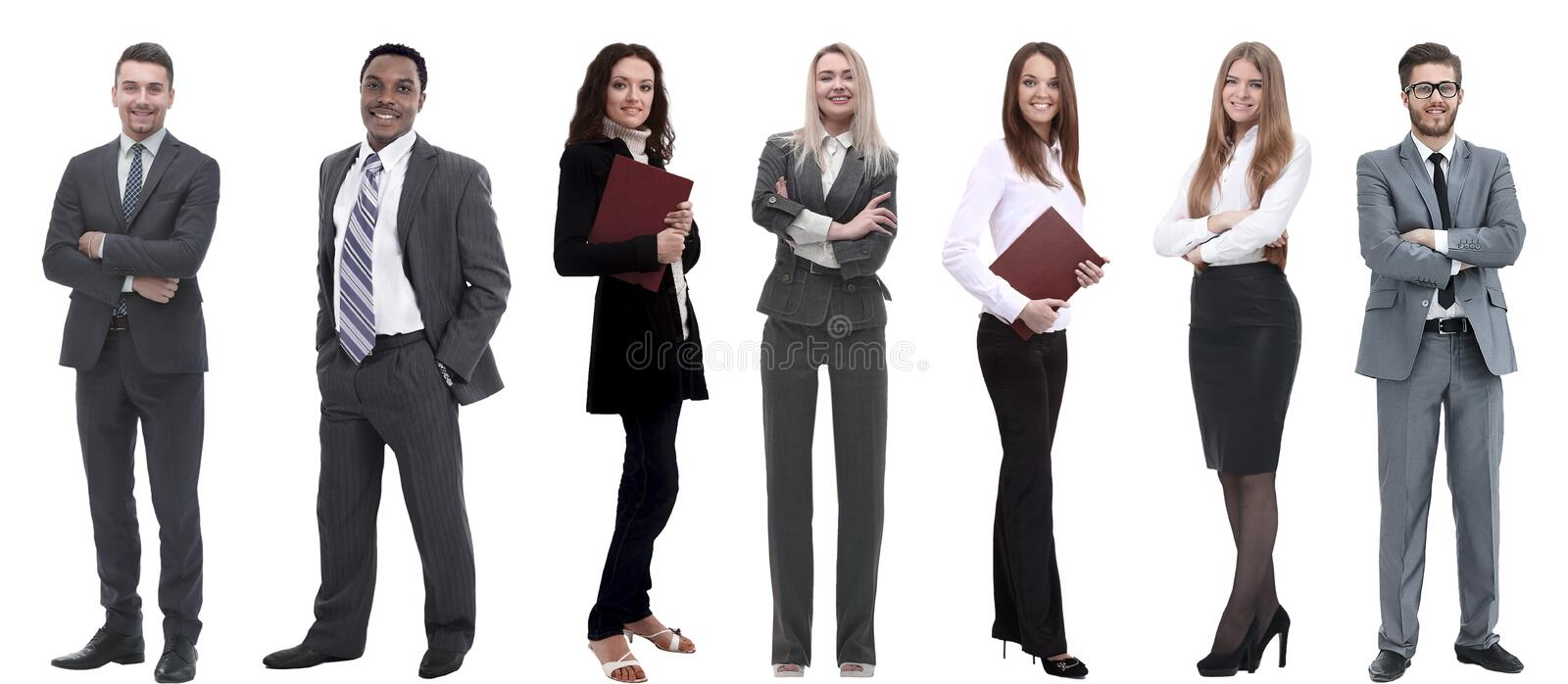 Group of successful business people standing in a row. stock photography
