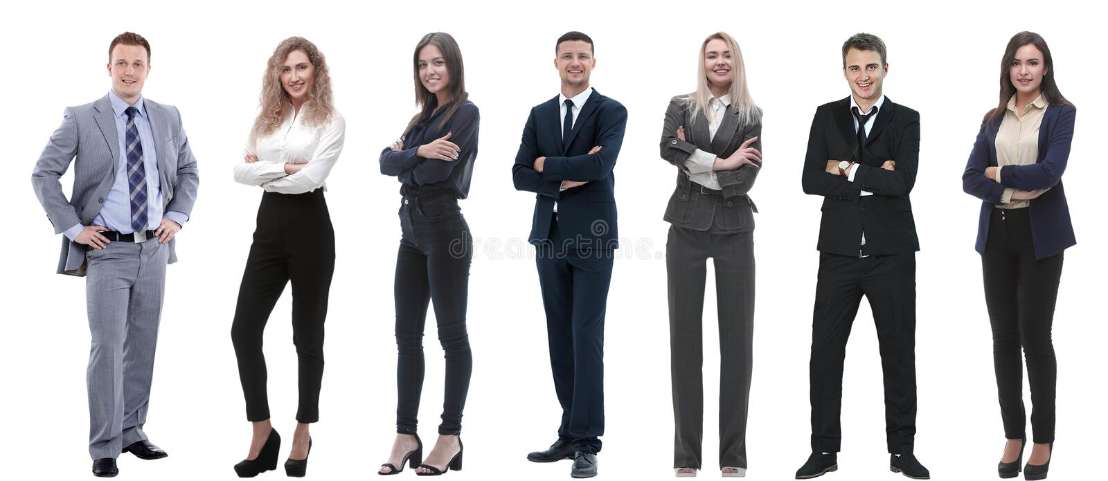 Group of successful business people standing in a row. Isolated on white royalty free stock photography