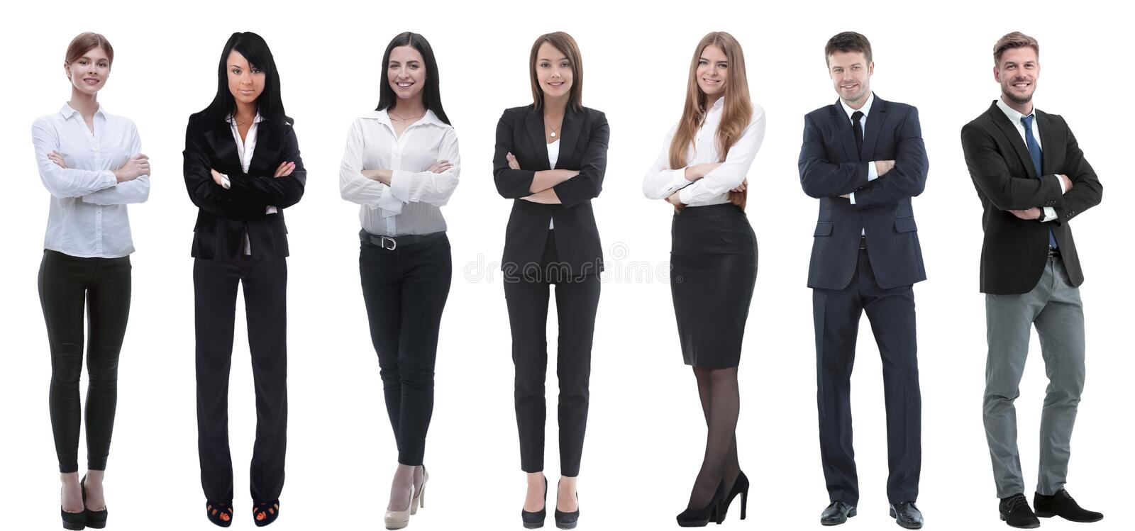 Group of successful business people standing in a row. royalty free stock photos