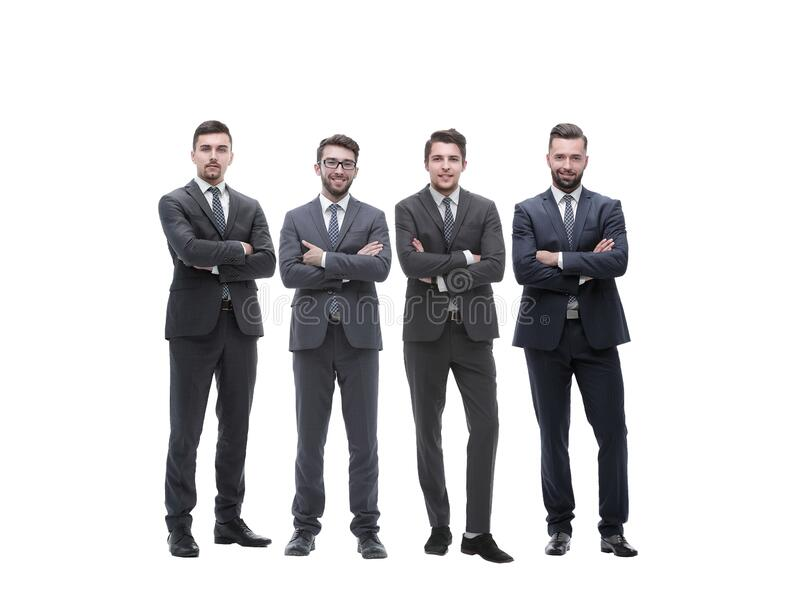 Group of successful entrepreneurs standing together. isolated on white stock photo