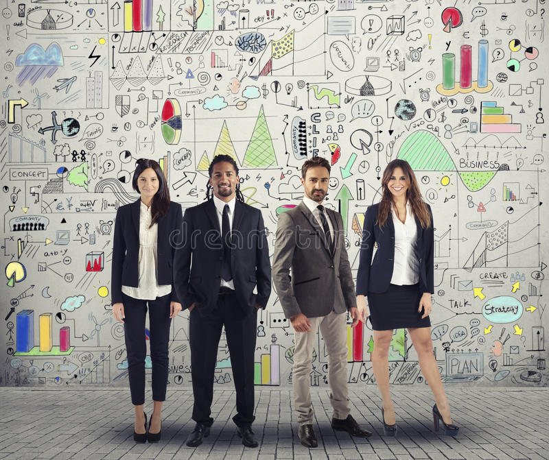 Group of successful men and women business people work on a creative project. Team and corporate concept. Group of successful men and women business people royalty free stock images