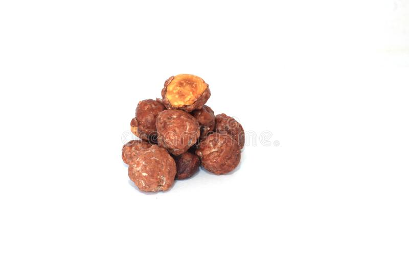 Group of sweet caramelized toasted peanuts.  royalty free stock images