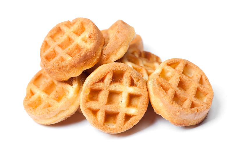 Group of tasty round mini waffles royalty free stock images