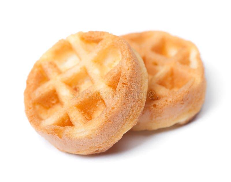 Group of tasty round mini waffles stock photos