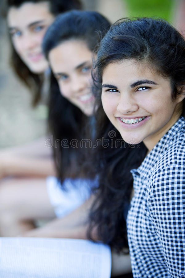 Group of teen friends royalty free stock photos