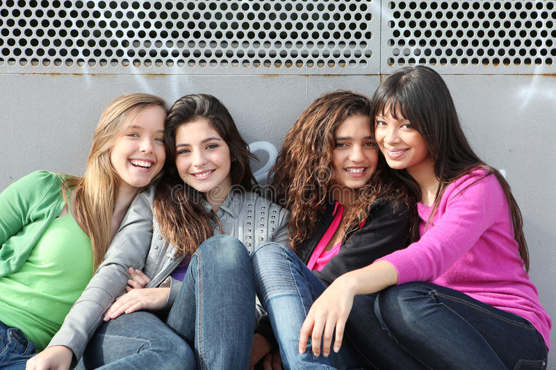 Group teen girls royalty free stock images