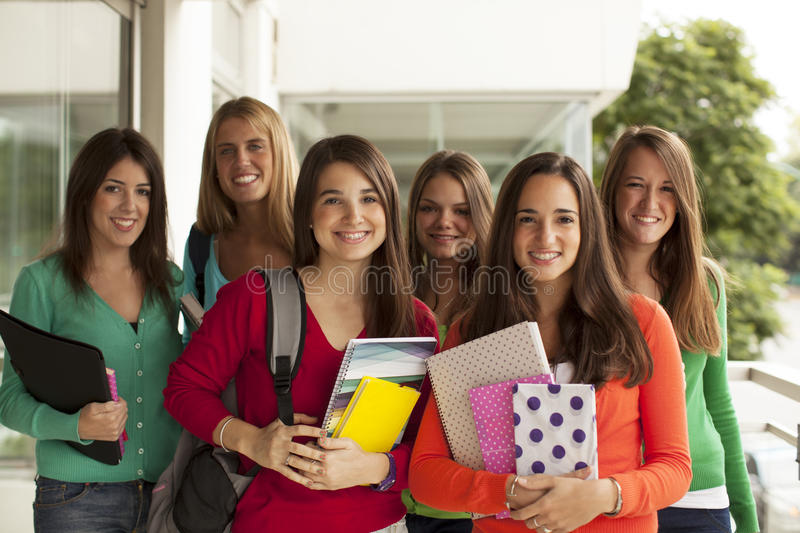 Group of teen students smiling stock photography