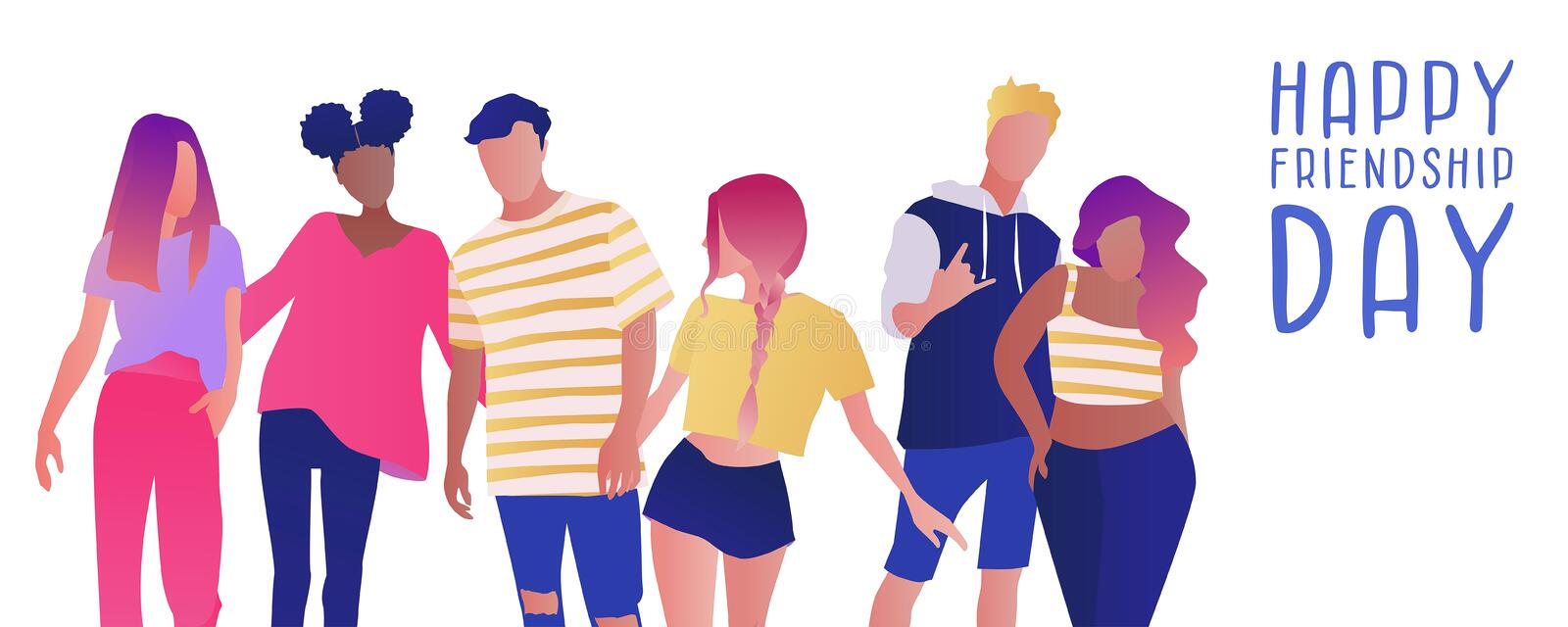Group of teenage boys and girls or school friends standing together, embracing each other. Flat cartoon vector illustration. vector illustration