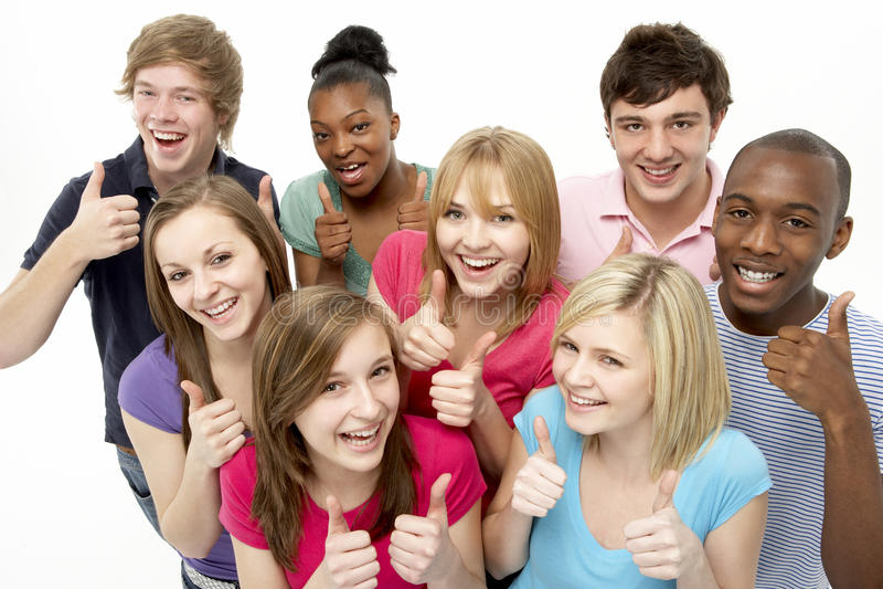 Group Of Teenage Friends In Studio stock photos