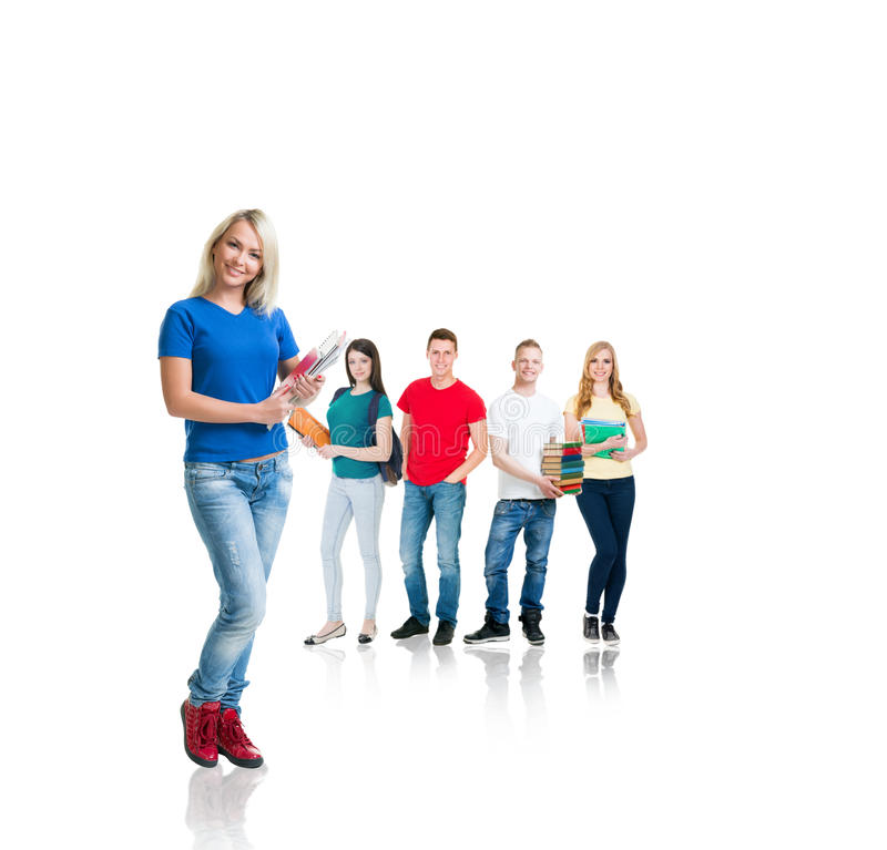 Group of teenage students isolated on white royalty free stock photo