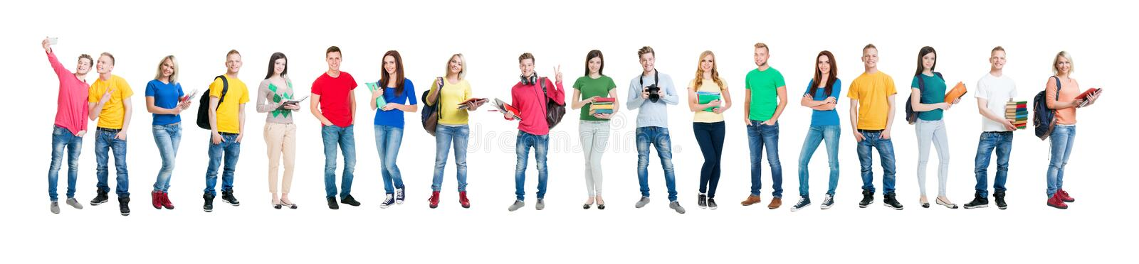 Group of teenage students isolated on white. Large group of teenage students isolated on white background. Many different people standing together. School royalty free stock photo