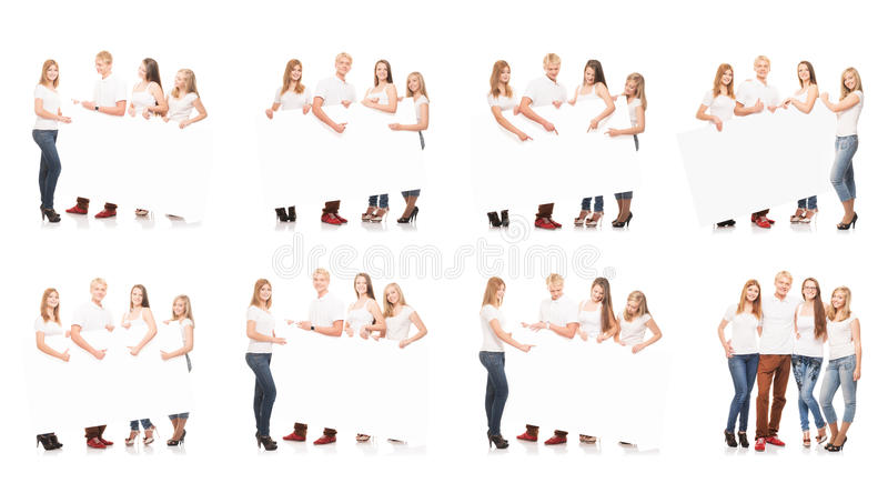 Group of teenagers with a blank, white billboard. Collection set isolated on white background royalty free stock photos