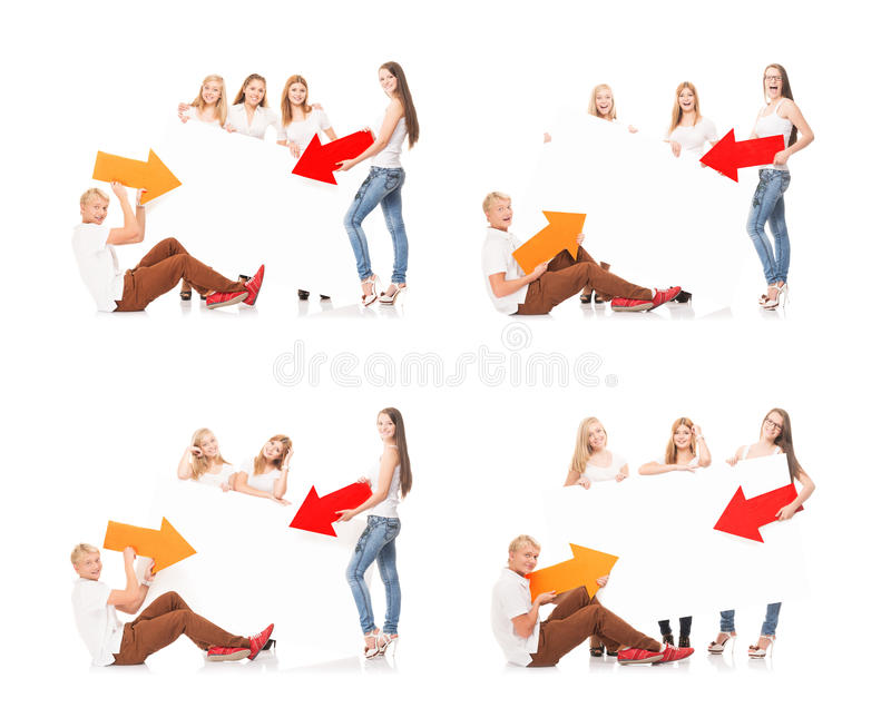 Group of teenagers with a blank, white billboard. Collection set isolated on white background royalty free stock images