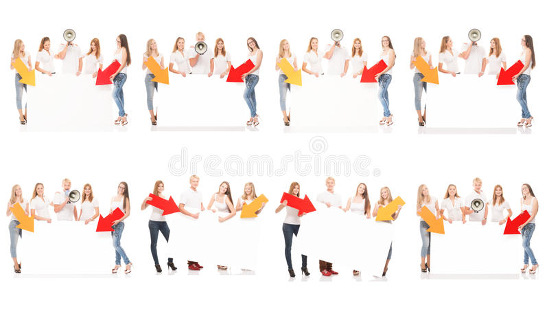 Group of teenagers with a blank, white billboard. And loudspeaker. Collection set isolated on white background royalty free stock photo