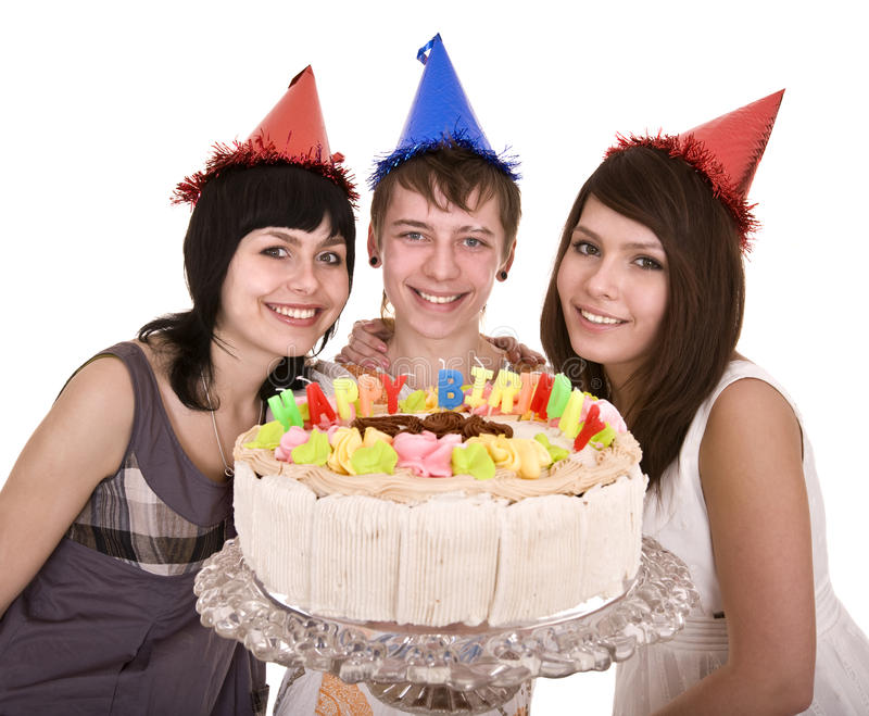 Group of teenagers celebrate happy birthday. Isolated stock photo